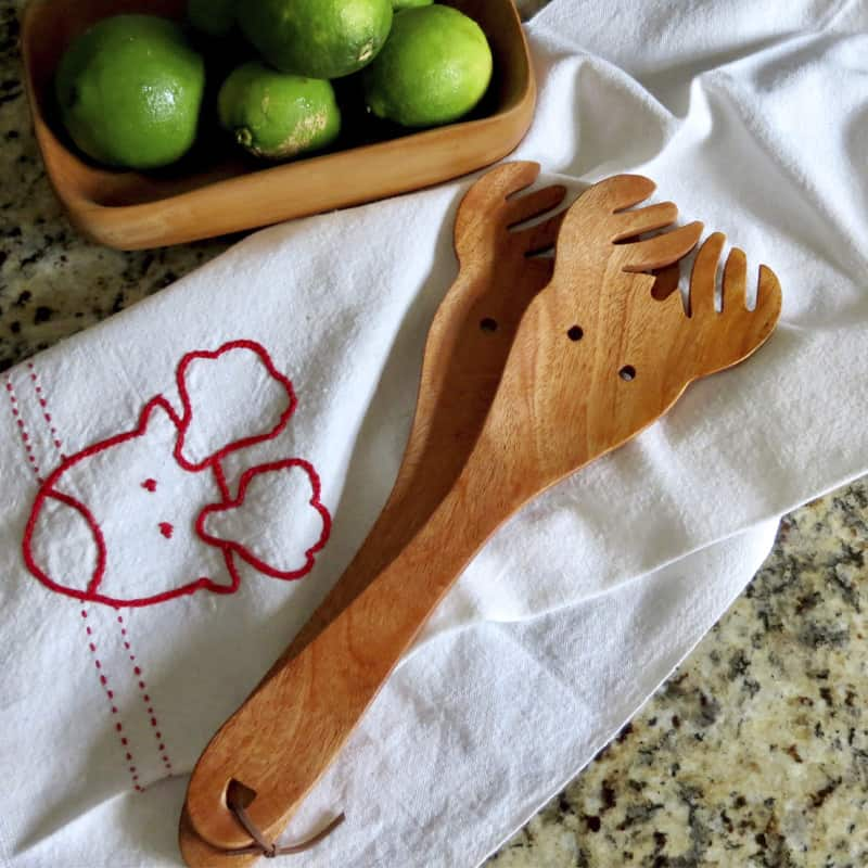 "Wood Salad & Pasta Servers 12"" in a Reindeer Shape"