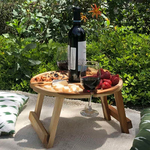 Folding Outdoor Wine Table and Picnic Table