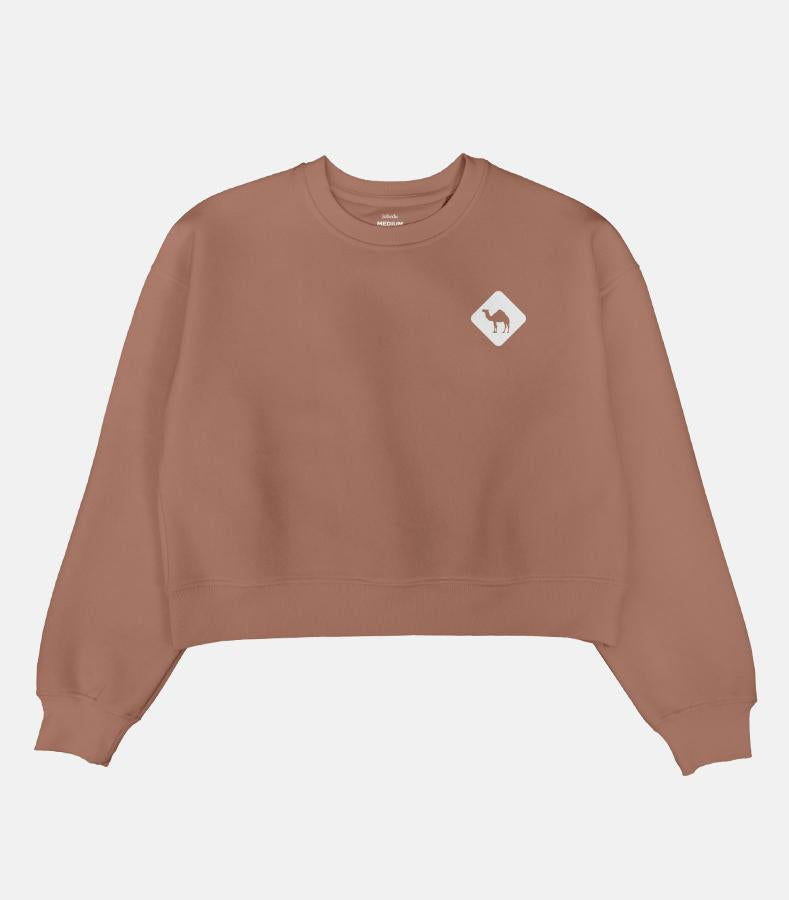 Jobedu Camel Crossing Icon Cropped Sweater for Women