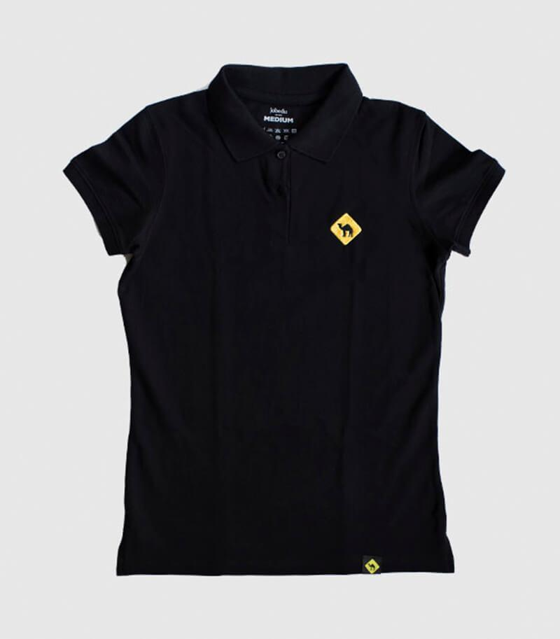 Jobedu Camel Crossing Women's Polo Shirt Black
