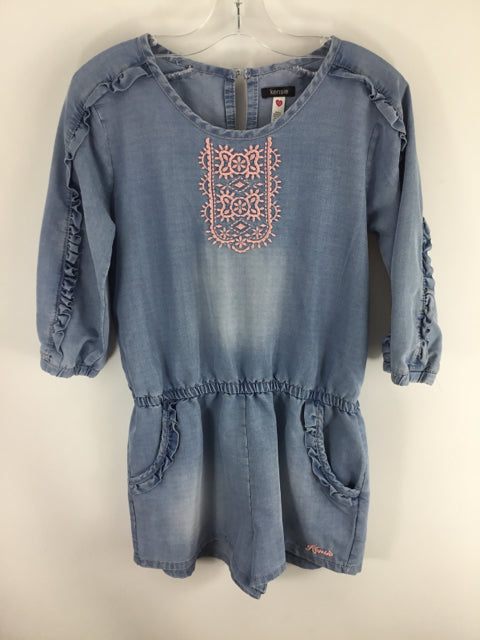 Kensie Child Size 12 Blue Cotton Blend Dress - girls