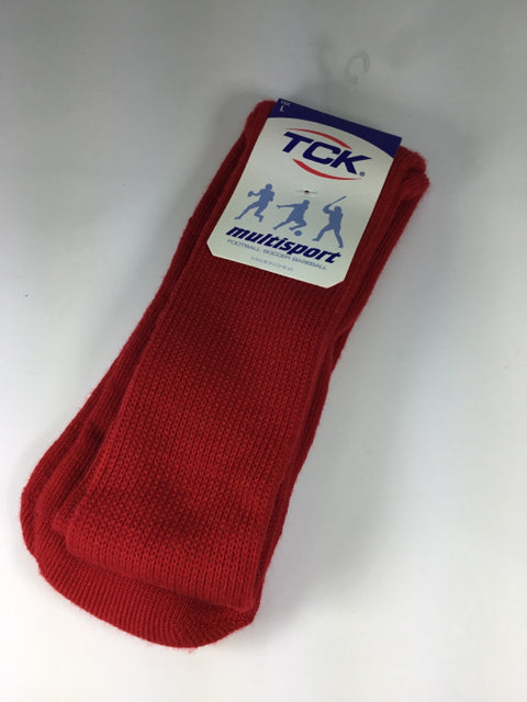 TCK Child Size L Red Solid Socks - boys