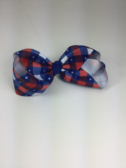 X-Large Red, White & Blue Plaid/Stars Cuteypie Clips