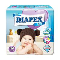 Diapex Easy Wonder Tape Diapers L size (9-14kg) 60 pieces