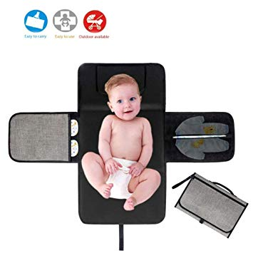Baby Portable Changing Pad | Fully Padded for Baby's | Foldable Large Waterproof Mat | Travel Mat Station for Toddlers Infants & Newborns (Black)