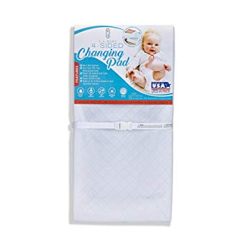 "LA Baby Waterproof 4 Sided Cocoon Style Changing Pad, 30"" - Easy to Clean Quilted Cover W Non-Skid Bottom, Safety Strap, Fits All Standard Changing Tables/Dresser Tops for Best Infant Diaper Change"