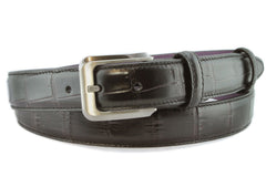 Black narrow leather mens belt