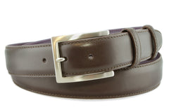 Brown leather formal mens belt