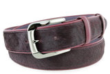 Burgundy Pony Hair Jeans Belt