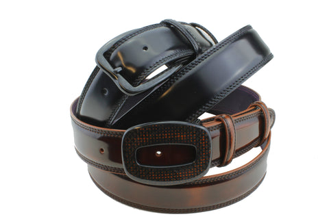 Elliot Rhodes Carbon Fibre Buckles with Cordovan effect belts