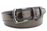 Mens Bugundy Cordovan Effect Jeans Belt