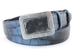 Two tone croc with funky buckle