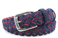 Mens Navy and Red suede handweave belt