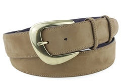 Havana Nubuck belt with curved buckle