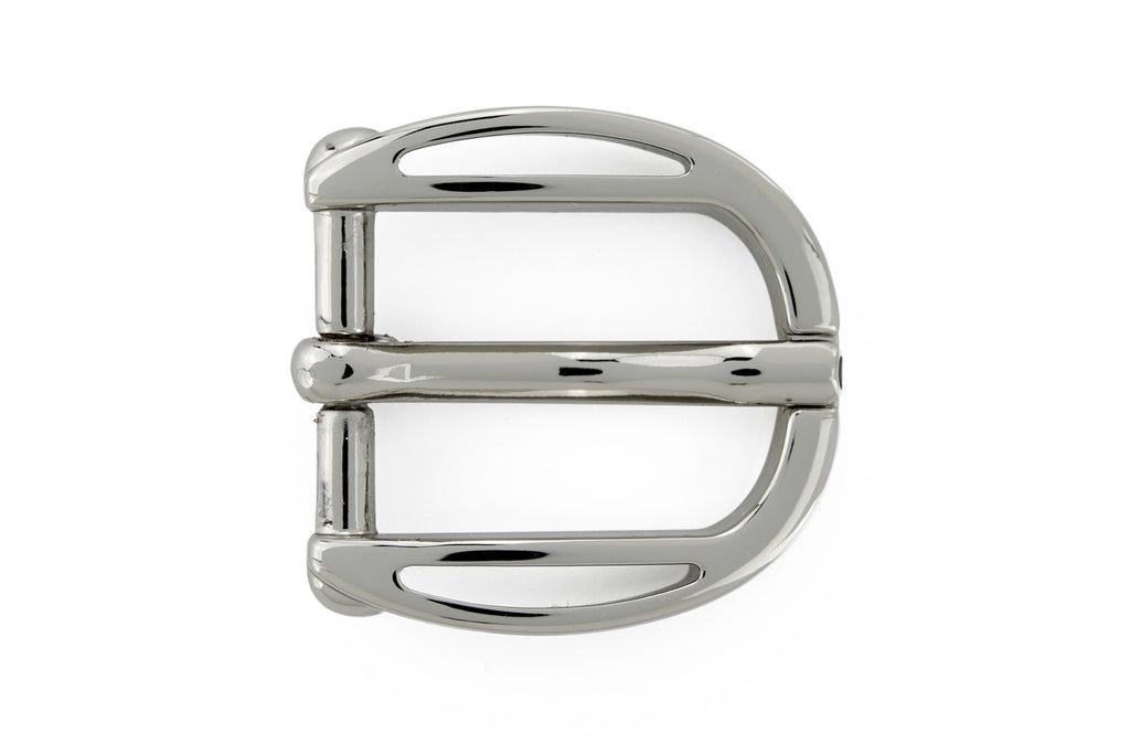 Scooped edge shiny silver prong buckle 20mm