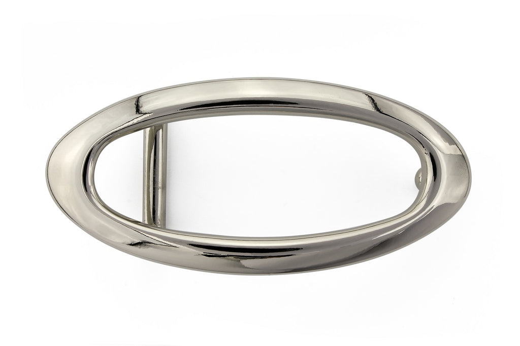 Shiny silver hollow oval buckle 20mm