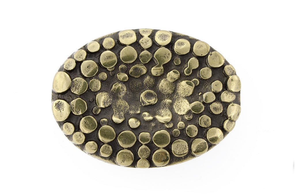 Aged gold textured oval buckle 20mm