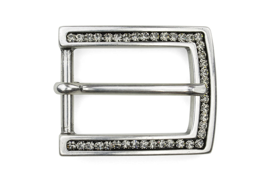 Fume Crystal Encrusted Rectangular Buckle 25mm