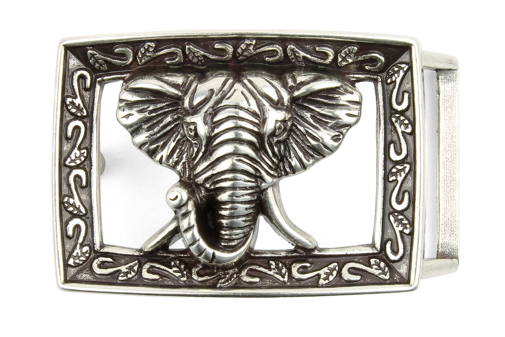 Etched Frame Aged Silver Elephant Buckle 25mm