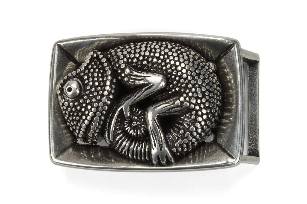 Rectangular Aged Silver Baby Gecko Buckle 25mm