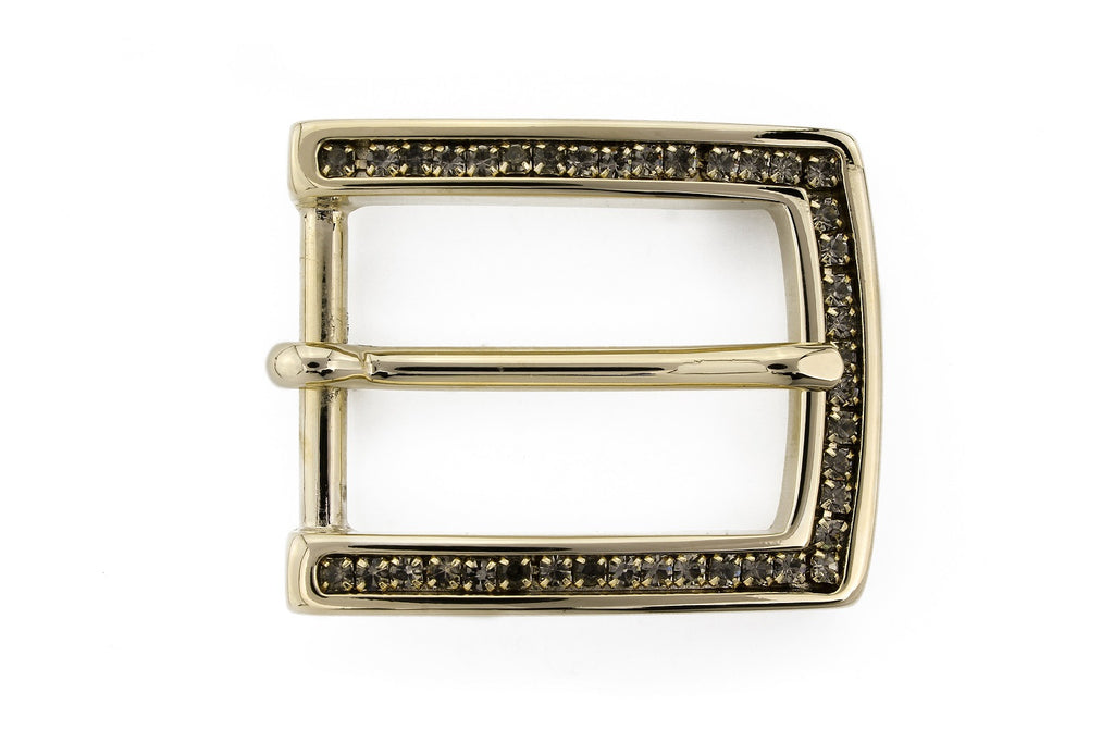 Light gold crystal prong buckle 25mm