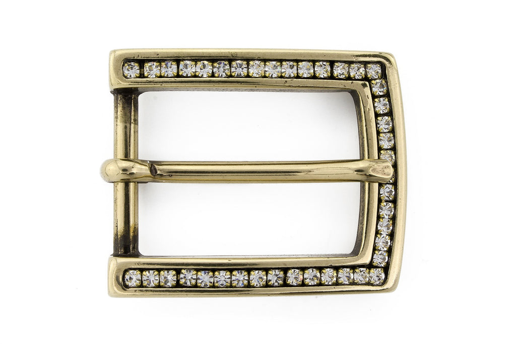 Aged gold crystal prong buckle 25mm