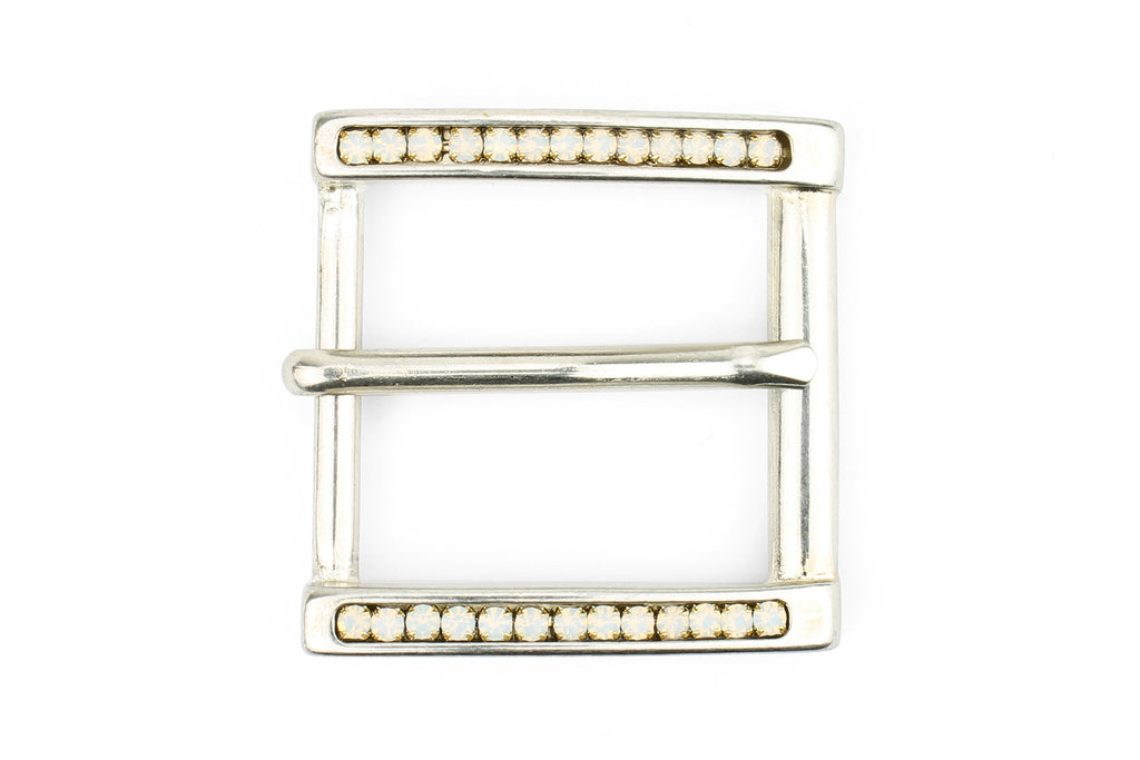 Bleached Gold Opal Crystal Prong Buckle 30mm