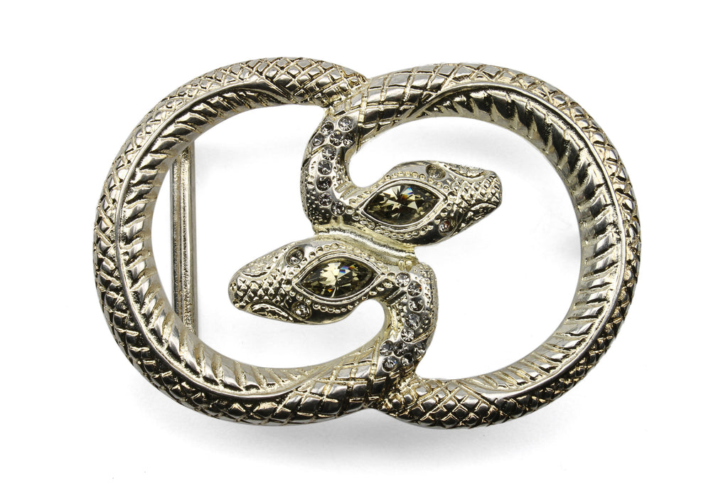 Bleached Gold Interlocking Snake Buckle 30mm