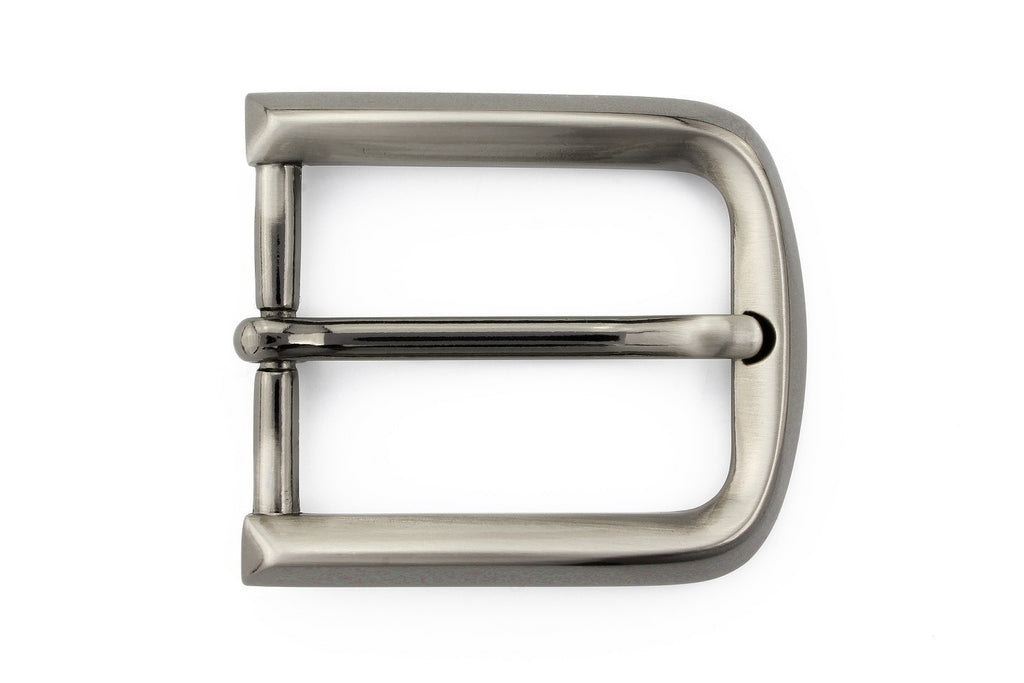 Satin gunmetal prong buckle 30mm