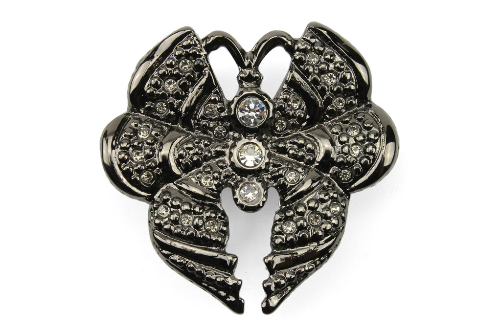 Shiny Gunmetal Crystal Encrusted Butterfly Buckle 30mm