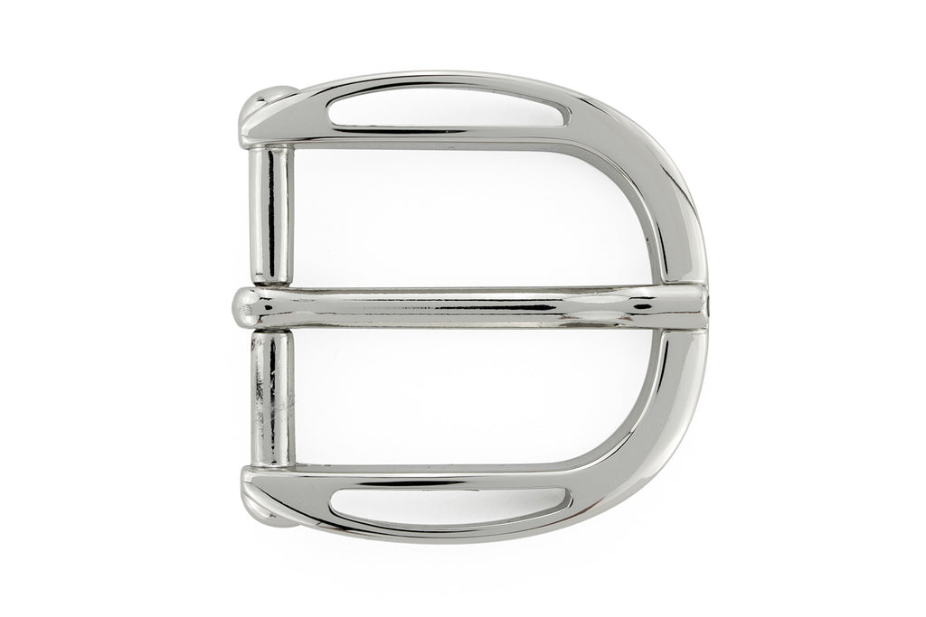 Scooped edge shiny silver prong buckle 30mm