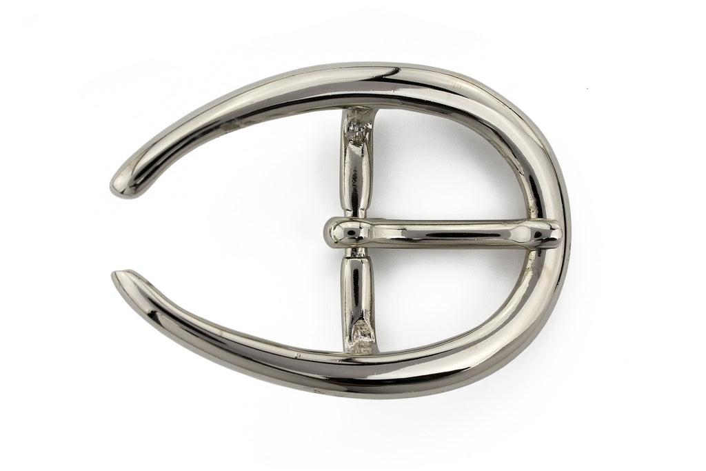 Shiny silver horseshoe prong buckle 30mm