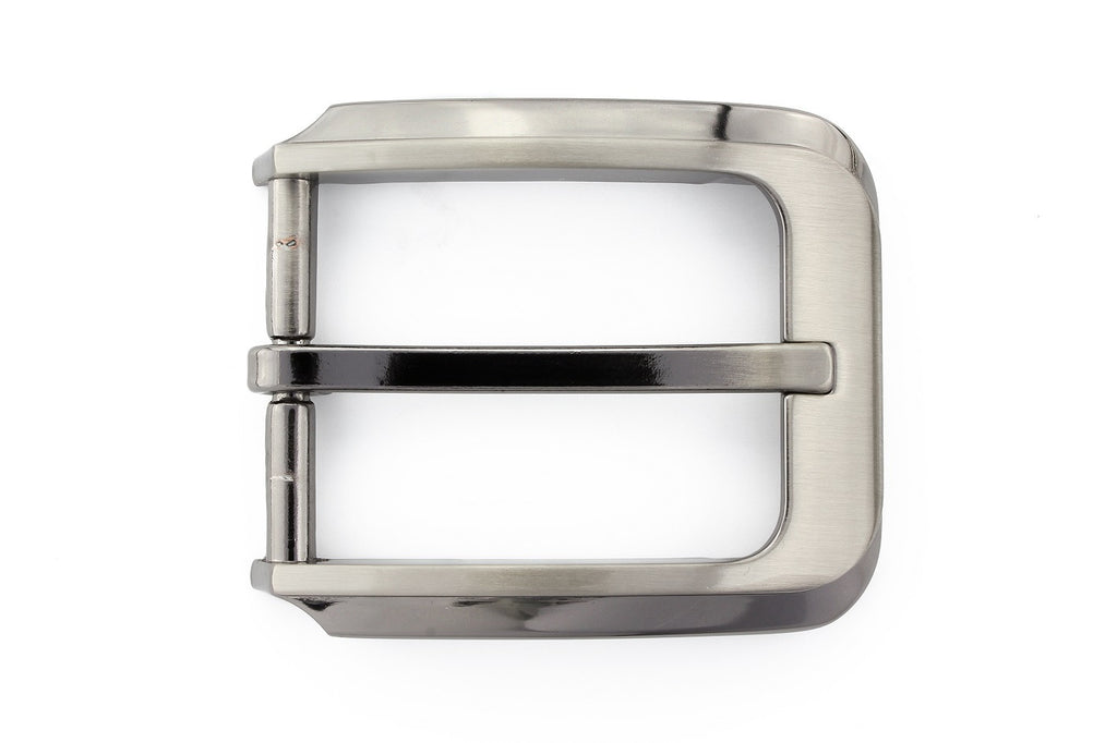 Satin silver contemporary prong buckle 30mm