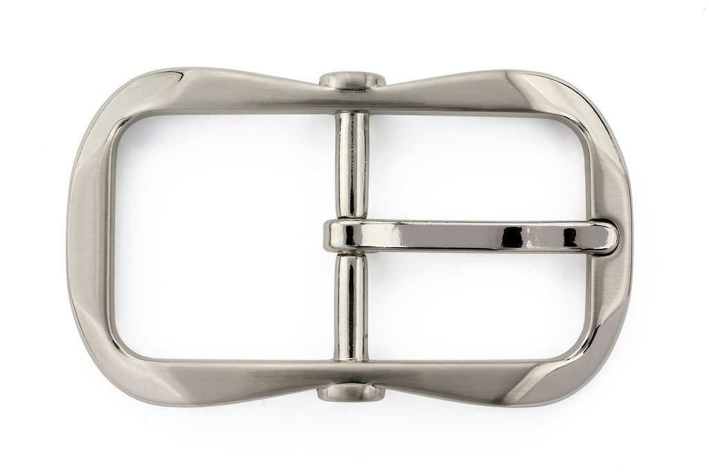 Satin silver flattened octagon buckle 30mm