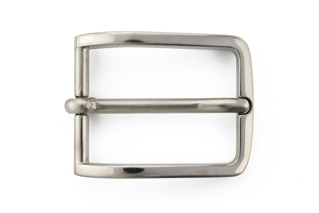 Satin silver classic prong buckle 30mm