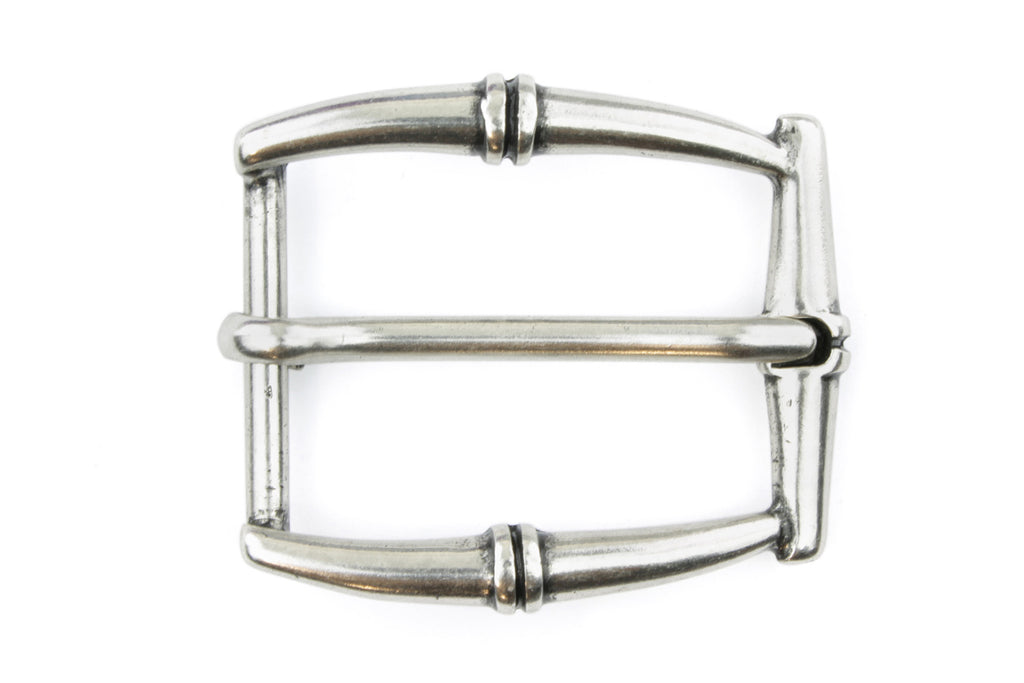 Aged Silver Rectangular Bamboo Buckle 30mm