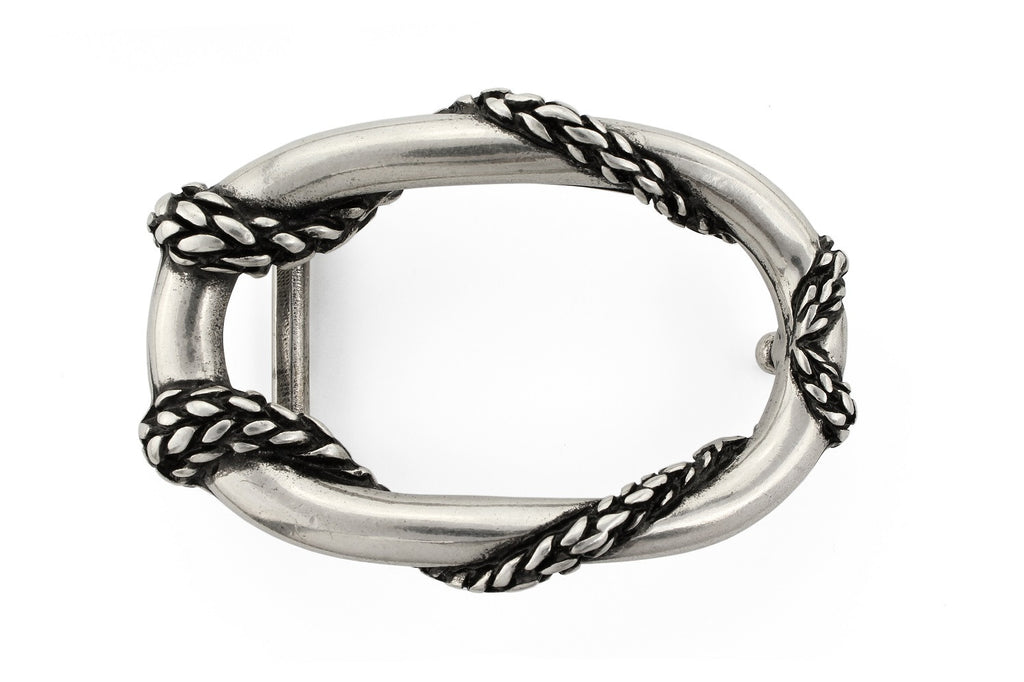 Aged silver rope oval buckle 30mm