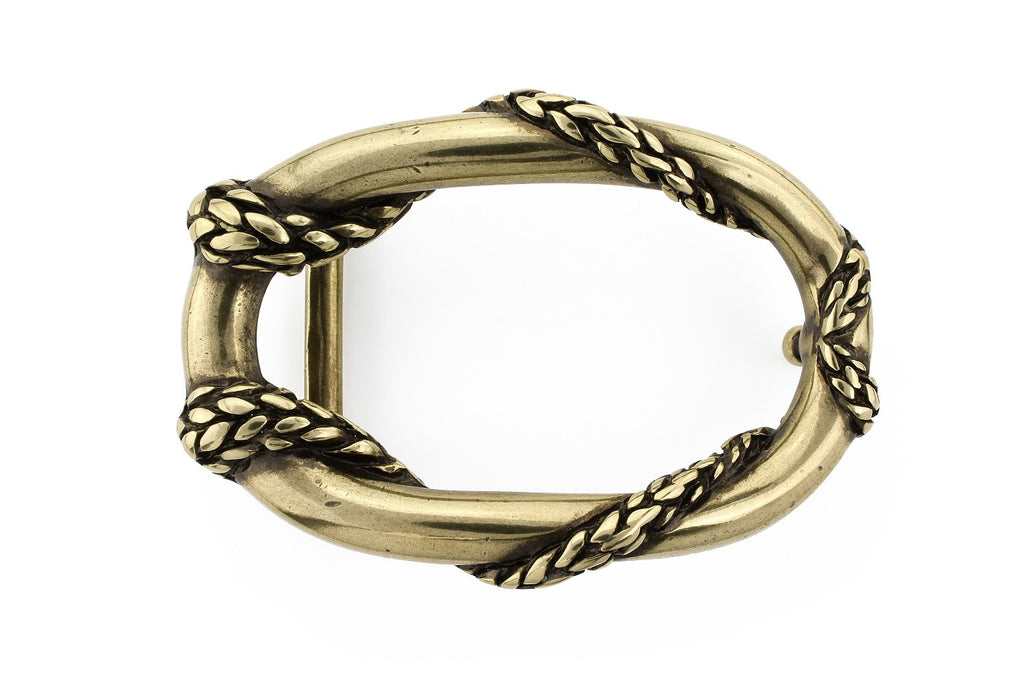 Antique gold rope oval buckle 30mm