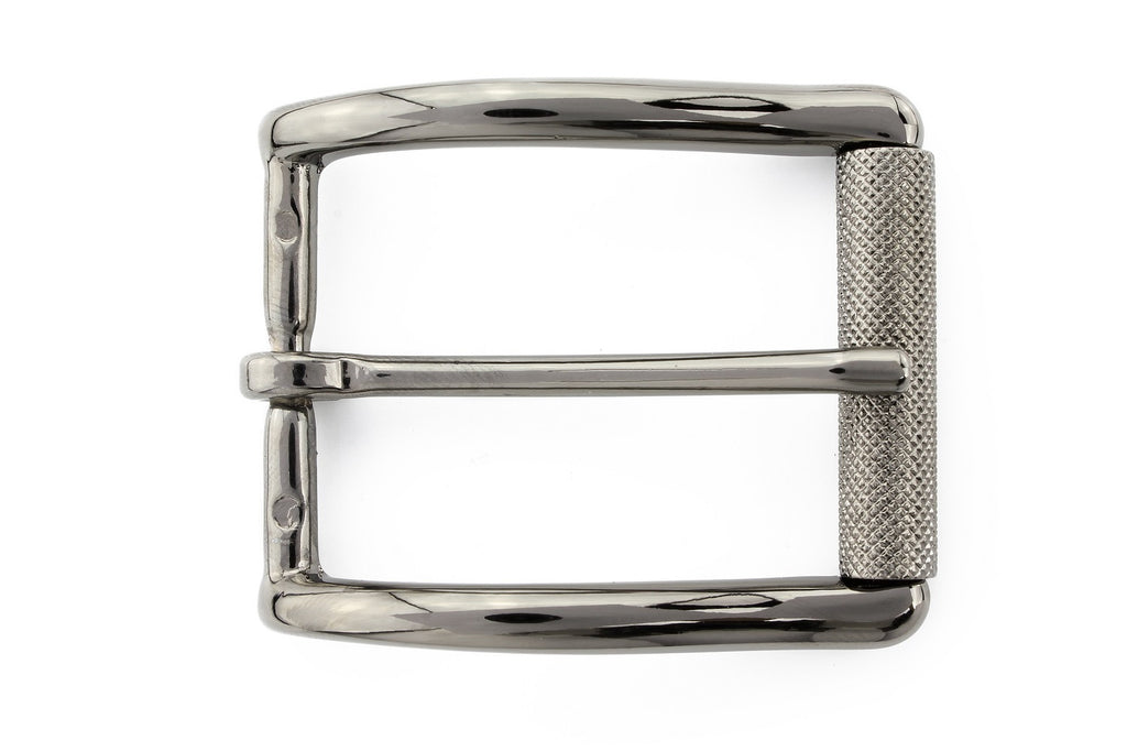 Shiny gunmetal roller buckle 35mm