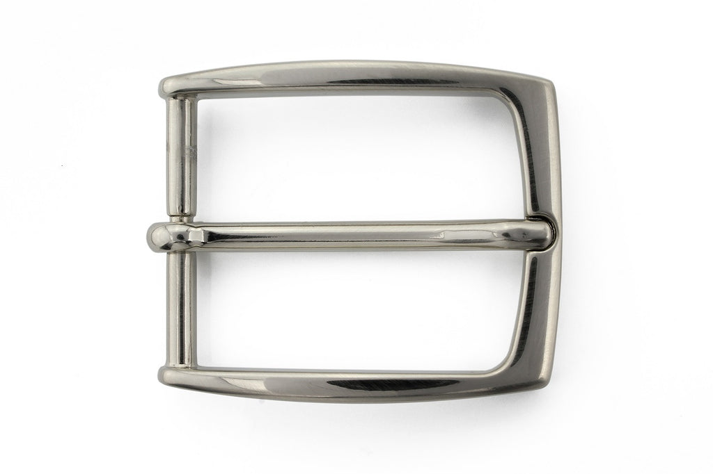 Slim profile satin silver prong buckle 35mm