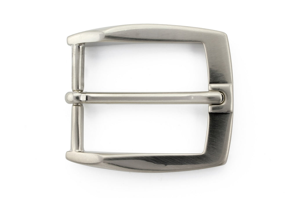 Satin silver sloped prong buckle 35mm