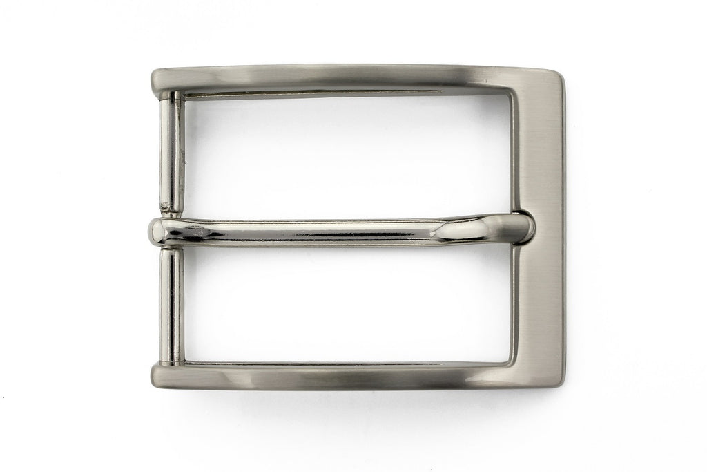 Satin silver sliced edge buckle 35mm