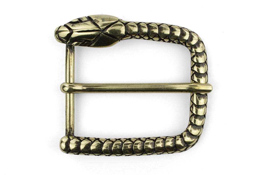 Snakehead aged gold prong buckle 35mm