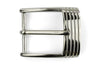 Shiny silver ribbed front buckle 35mm