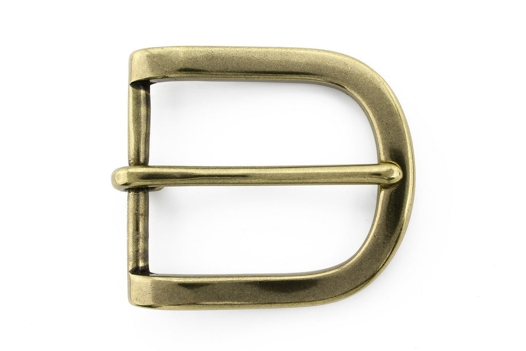 Rounded aged gold prong buckle 35mm
