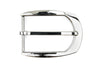 Shiny Silver Curved Rectangular Buckle 35mm