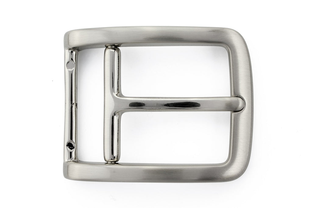 Satin silver stirrup prong buckle 35mm