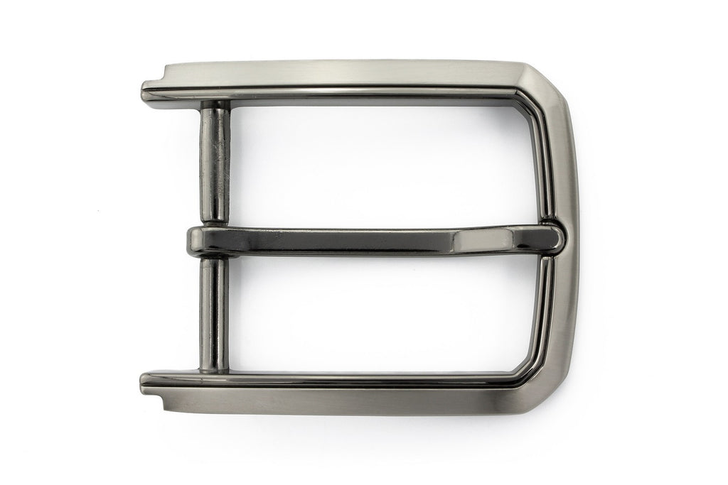 Satin silver two tone prong buckle 35mm