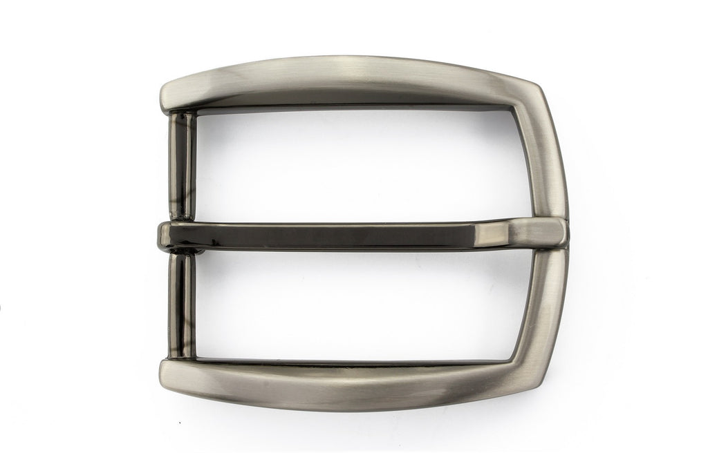 Silver bowed out rectangle buckle 35mm