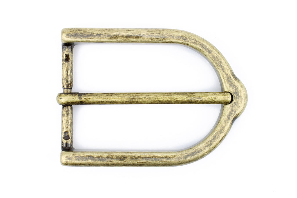 Distressed Brass Stirrup Prong Buckle 35mm